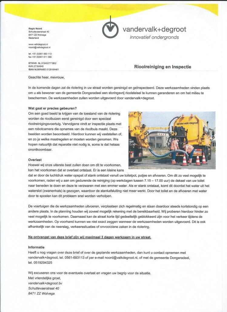 Brief Rioolreiniging en Inspectie