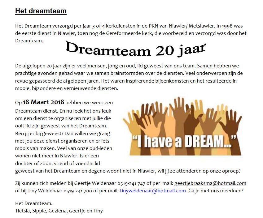 Dreamteam 20 jaar