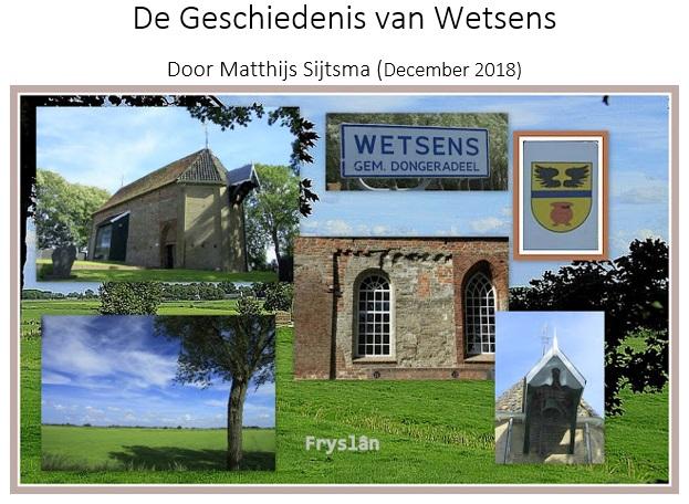 Geschiedenis van Wetsens door matthijs Sijtsma 1